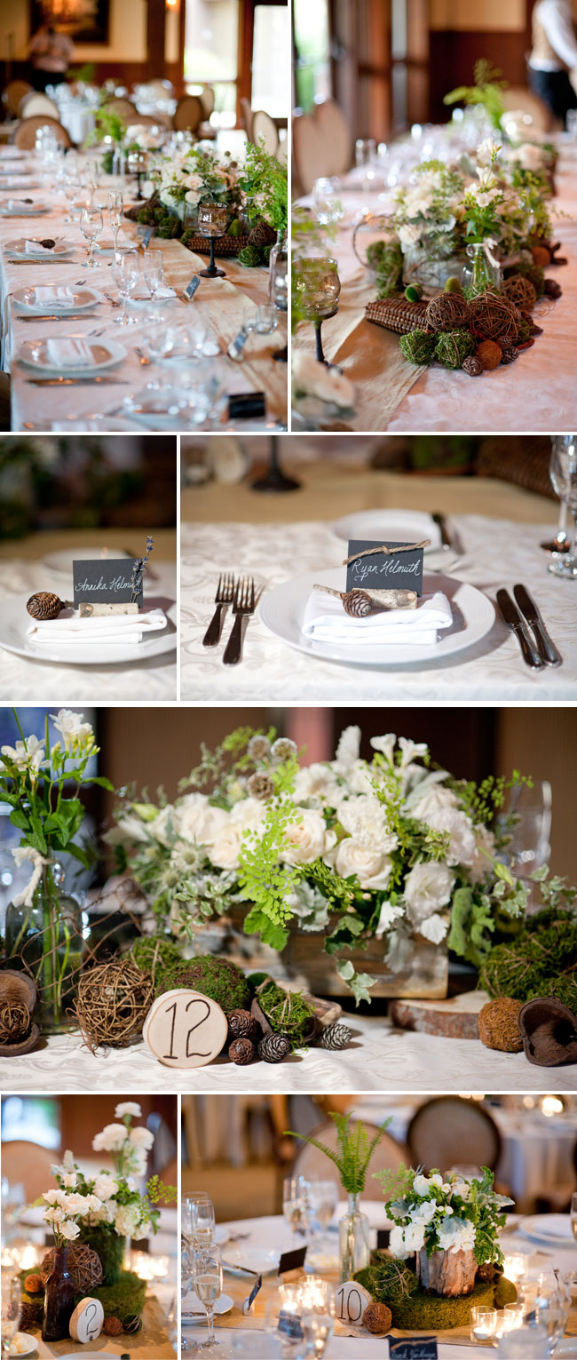 wedding reception table setting and centerpiece photos