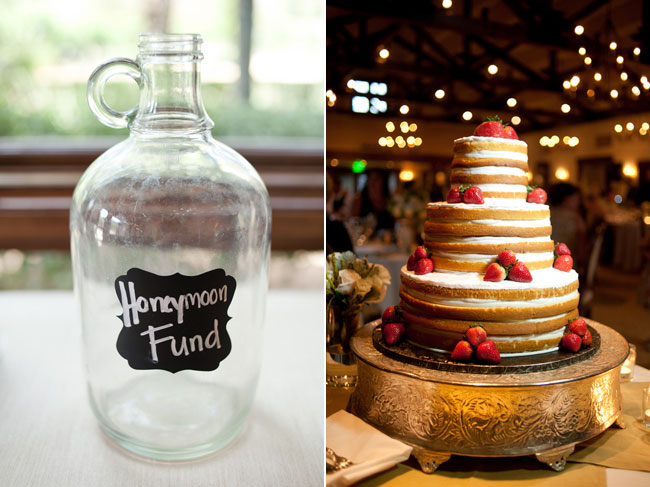 "large glass jug with ""Honeymoon Fund"" written on it. Naked wedding cake with real strawberries on silver pedestal"