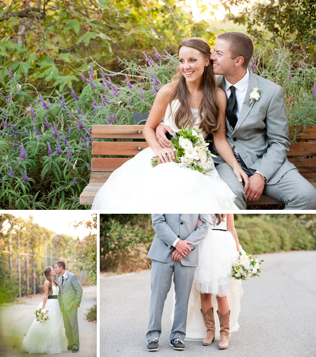 bride and groom smile while seated on wood bench in front of lavender at Arroyo Trabuco Golf Club