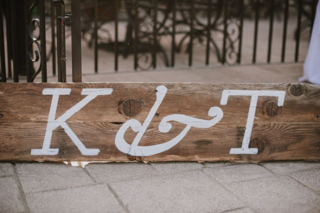 Wood board with letters painted in white