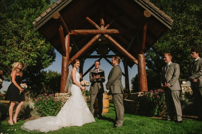Outdoor wedding ceremony at Basel Cellars Winery