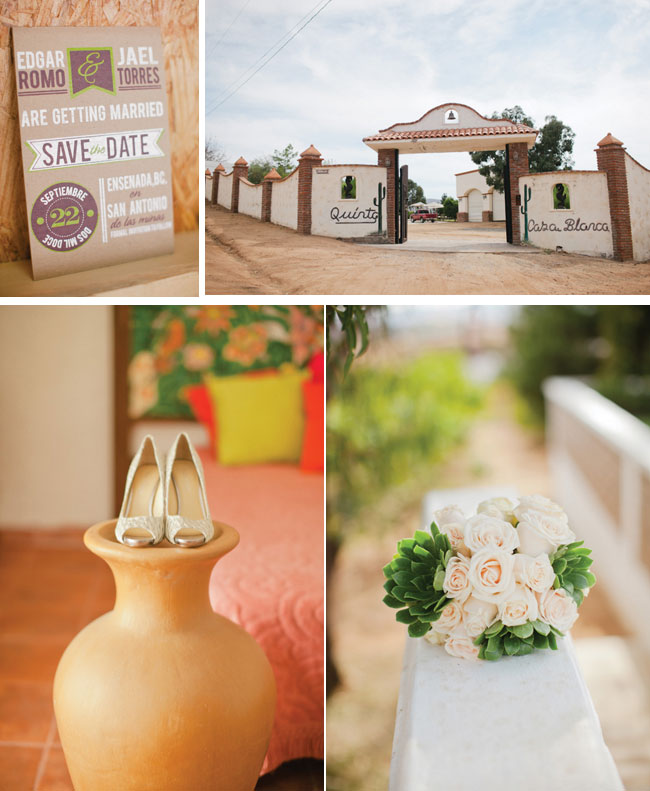 Quinta Casa Blanca Wedding venue with shoes on terra cotta pot, light peach roses and unique save the date