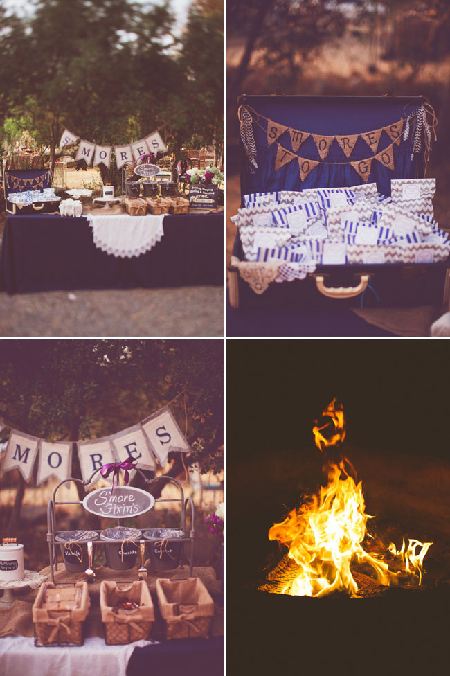 "Wedding table for smores, bunting banner that says ""Smores to go"", campfire for making smores"