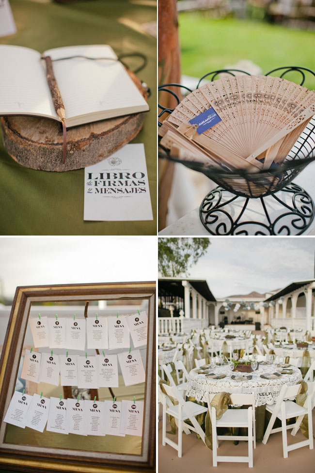 Guest book on wood round; table menu cards for outdoor seating at Quinta Casa Blanca Wedding