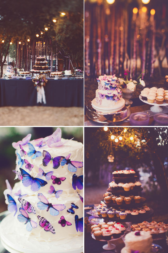 wedding dessert table with chocolate cupcakes and two-tier wedding cake with colorful butterflies
