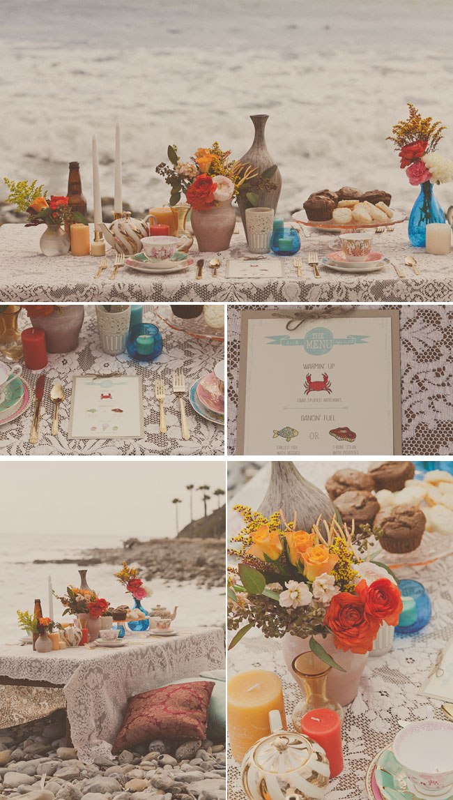 bohemian tea party styled shoot decor and desserts on royal palms state beach