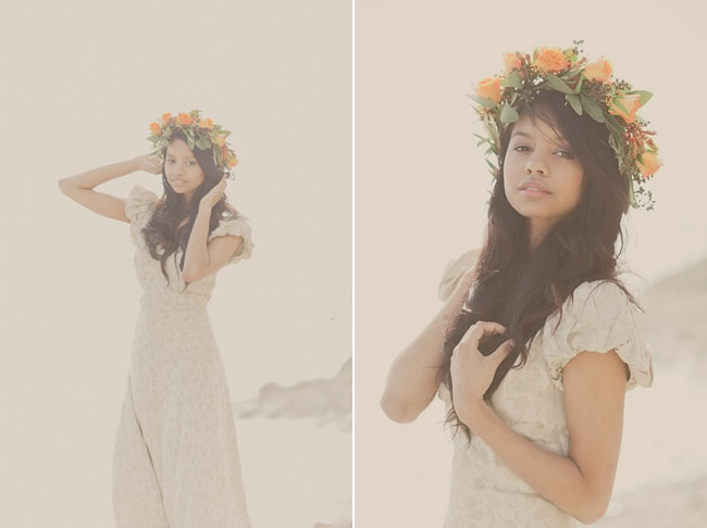 bohemian styled shoot bride on beach with rose flower crown