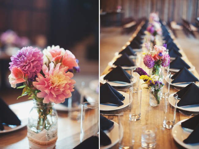 Long tables & dahlias at Cast Iron Studios wedding reception
