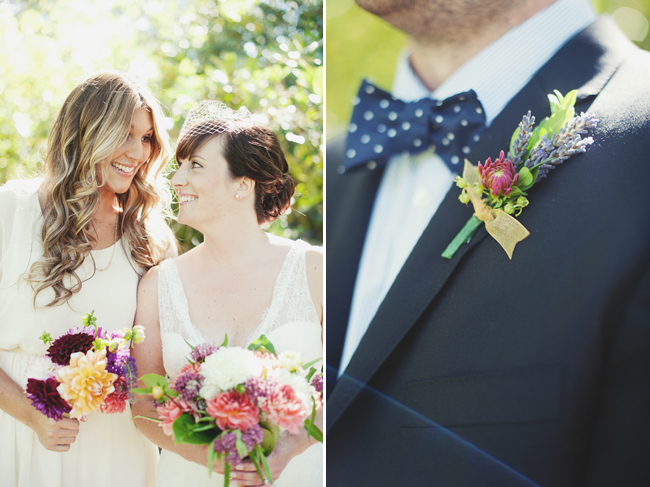 bride in birdcage veil and groom in navy polka dot bowtie with boutonniere