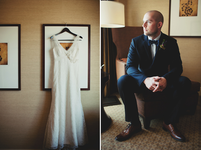 dress hanging from picture and groom seated in hotel room chair