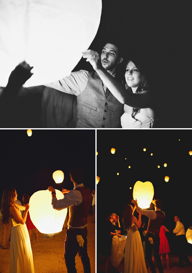 sky lanterns at night for wedding reception
