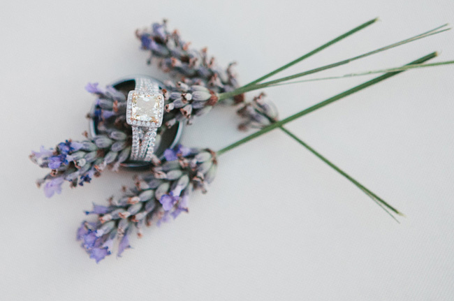 engagment ring shot with dried lavender