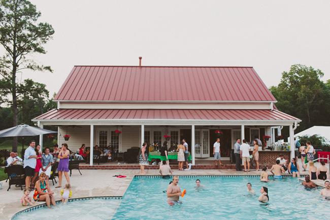 backyard swimming pool reception