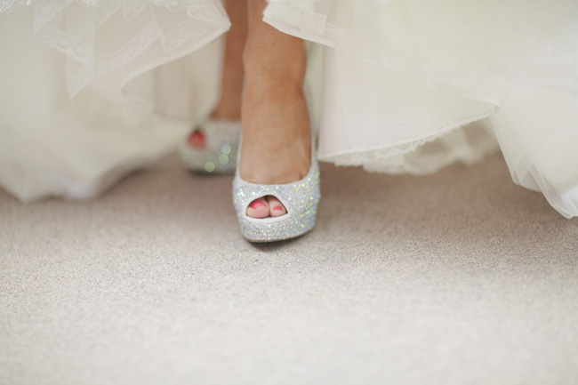 brides sparkling silver shoes
