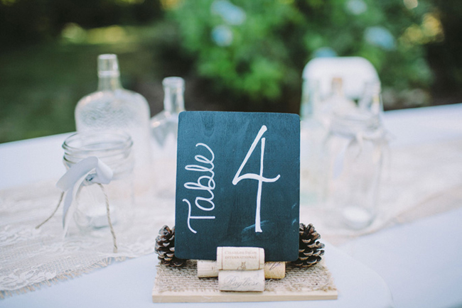 wine cork and pinecone DIY table number