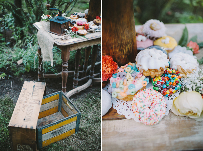 donuts on vintage table outdoors