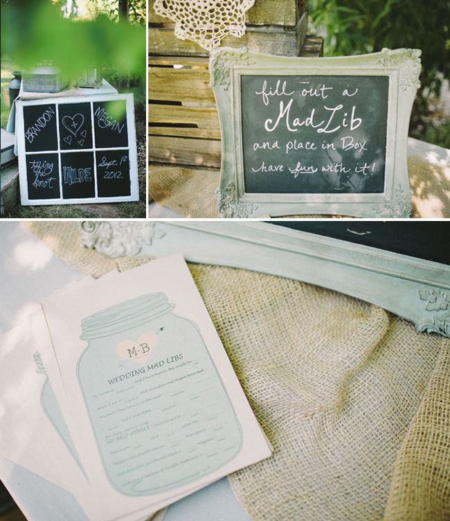 wedding madlibs and chalkboard decor
