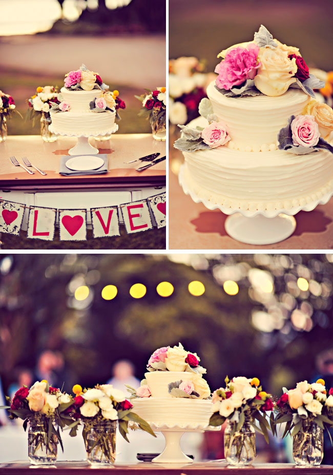 Intimate Maui wedding cake with multiple colored roses