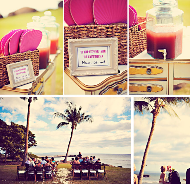 Vintage Hawaiian island wedding decor and ceremony at Olowalu Plantation House