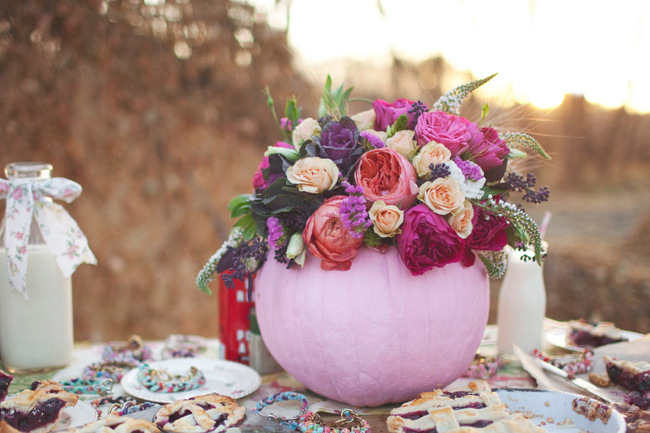 pink pumpkin centerpiece with flowers