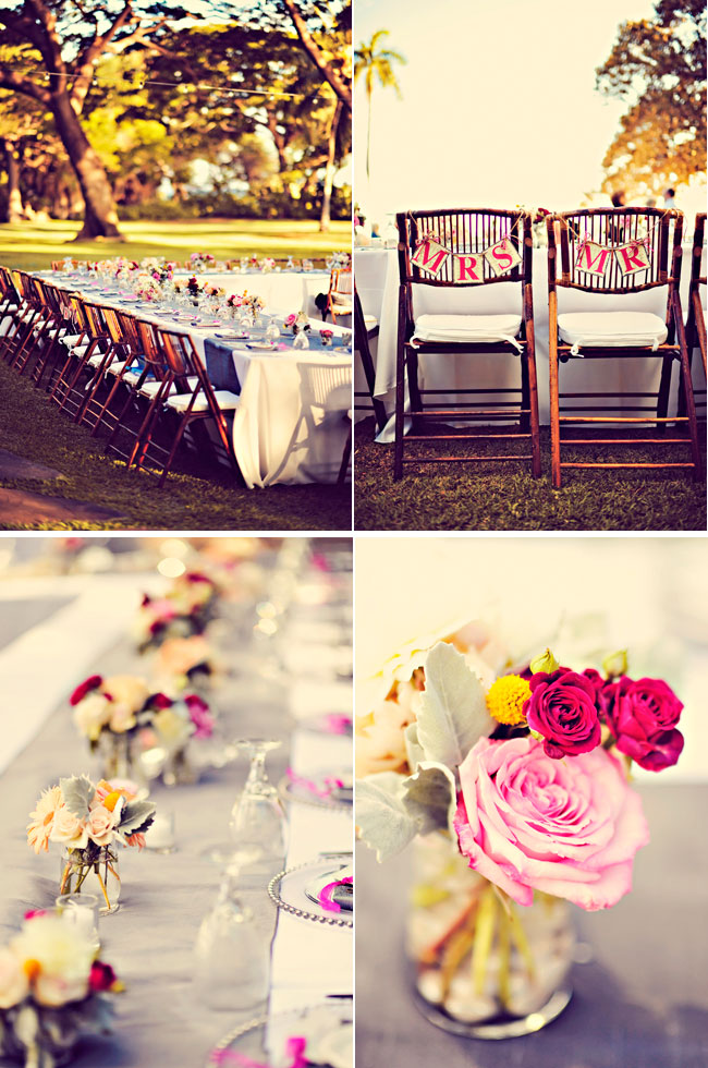 Olowalu Plantation House wedding reception table with pink flowers