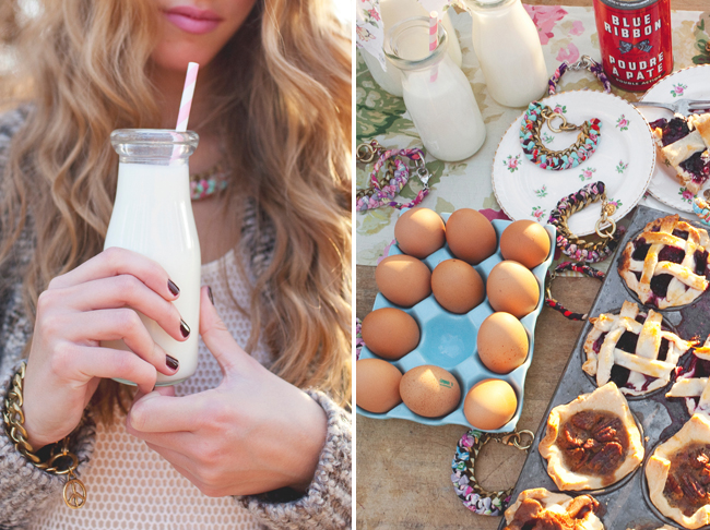 vintage milk bottle with jewelry bracelets and mini pies