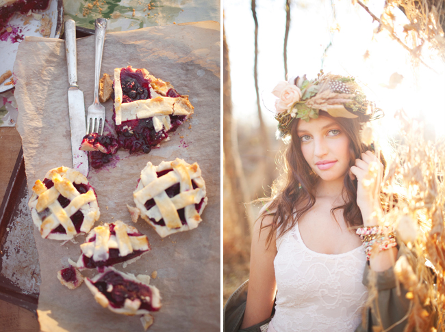 mini blackberry pies on table; model wearing floral crown