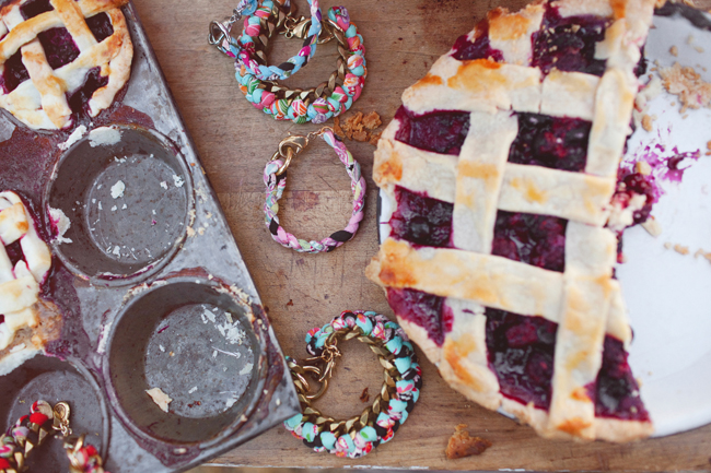 Sugar Blossom Design Jewelry on table with blackberry pie