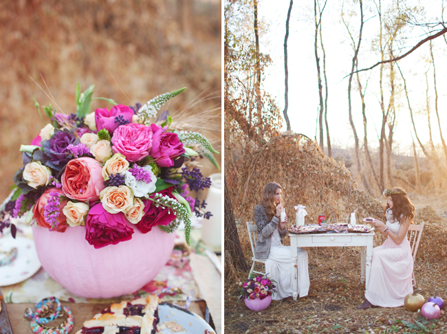 pink pumpkin centerpiece and bohemian inspired outdoor styled shoot