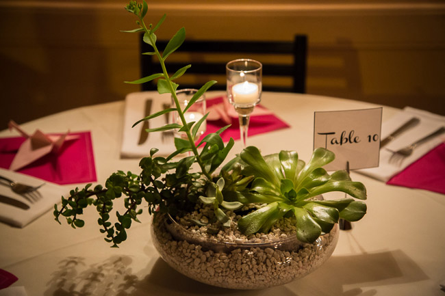 centerpiece for wedding reception at Caffe Luna, Raleigh, NC