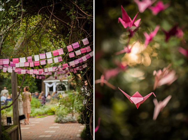 cranes and paintchip bunting decor at secluded garden wedding, Klein-Pringle White Garden