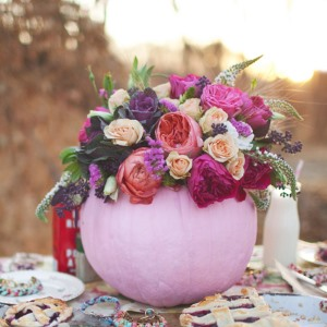 painted pink pumpkin centerpiece fo styled shoot