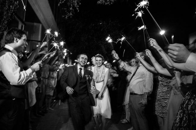 sparkler send off for couple