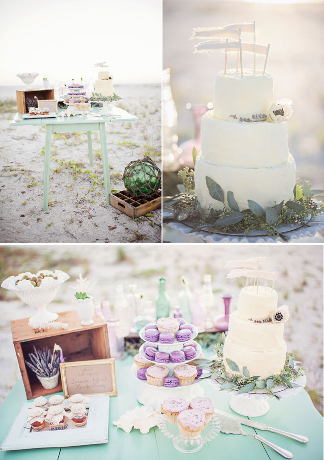 distessed dessert table holding white cake, vintage decor, and purple macaroons