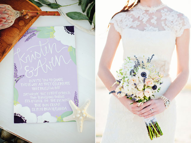 lavender color styled shoot wedding invitation, bride in sleeveless lace white dress holding bouquet