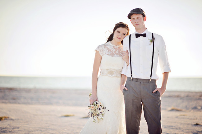 fashionable bride and groom at dreamy beach shoot