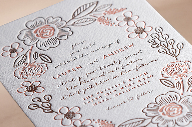 Botanical wreath Minted letterpress