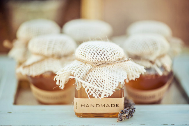 handmade jars for favors with dried lavender peaking out beside