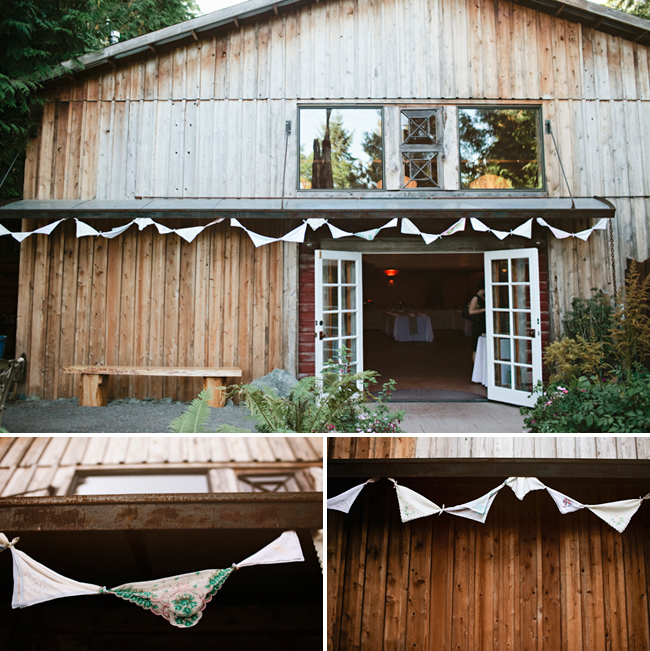 handkerchief bunting on Whidbey Island wooden house