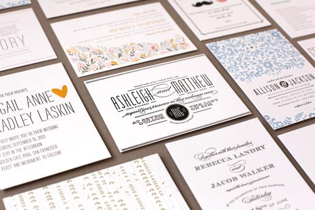 example letterpress invites from Minted