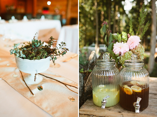 wedding succulents in white bowl, lemonade and ice tea in jars for guests