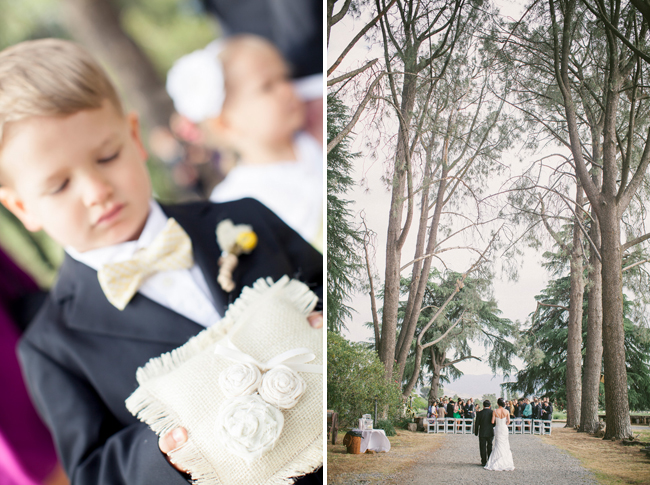 ring bearer with white flower pillow, bride and father walk down tree canopy aisle