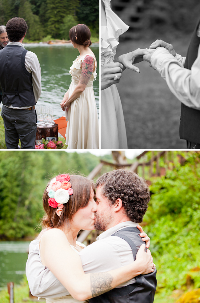 simple and intimate wedding ceremony beside lake in Washington