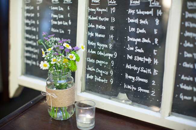 chalkboard seating chart at Highland Springs Resort wedding reception