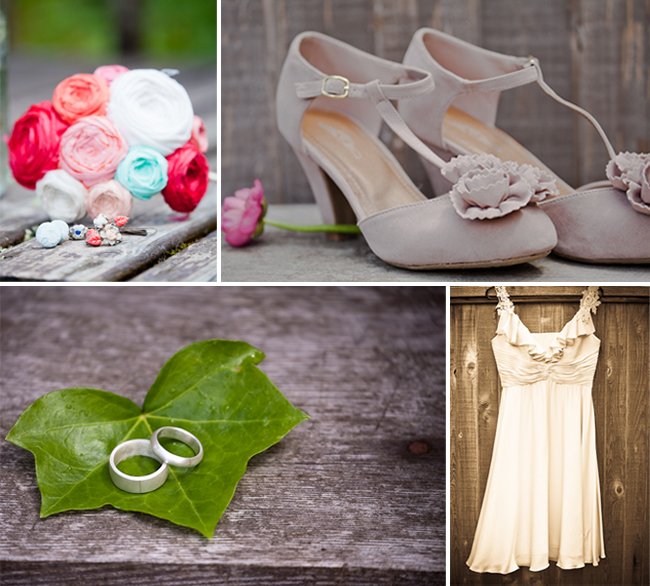 lakeside wedding in Washington: shoes, dress, rings on a leaf, and colorful bouquet