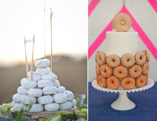 powdered donuts in shape of wedding cake