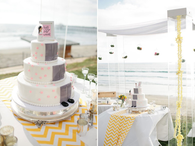 wedding cake on table by seaside in San Diego