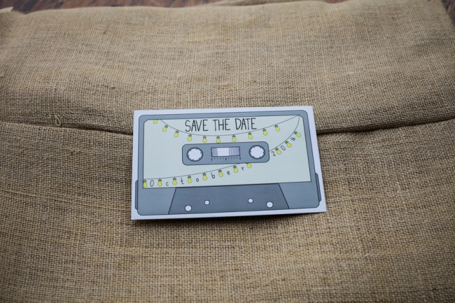save the date cassette tape paper