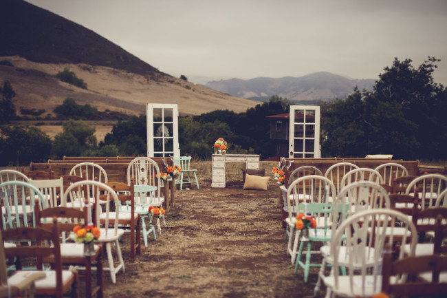 Flying Caballos Guest Ranch outdoor ceremony mismatched chairs