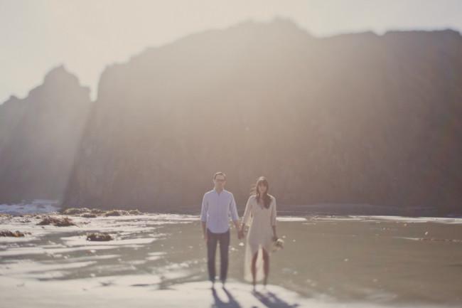elopement couple walk on Pfeiffer Beach